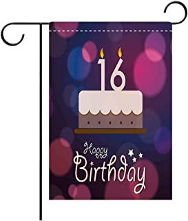 Double Sided Premium Garden Flag 16th Birthday Decorations Cake Candle Anniversary of Birth Best Wishes Young Image Fuchsia Dark Blue Decorative Deck, patio, Porch, Balcony Backyard, Garden or Lawn