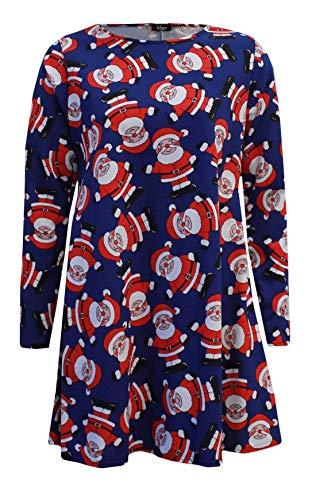 Islander Fashions Womens Xmas Santa Ausgestelltes Schaukel Kleid Damen Langarm Weihnachts Party Kleid Navy Santa XXX Large