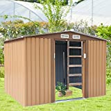 8' x 8'Outdoor Galvanized Steel Storage Shed with Vents& Lockable Sliding Door,Lawn Equipment Tool Organizer for Backyard,Brown
