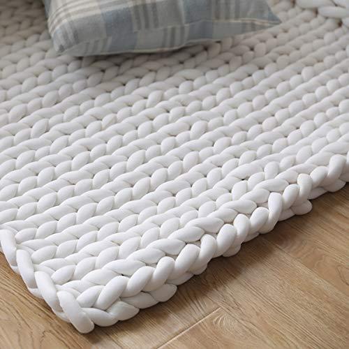 Manta de punto grueso y acogedora de 80 x 100 cm, hecha de lana de merino, tejida a mano, cálida y cálida, manta de lana muy gruesa, tejida a mano, decoración del hogar (blanco)