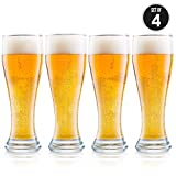 USA Made Nucleated Pilsner Glasses- Etched Beer Glass for Better Head Retention, Aroma and Flavor - 16 oz Craft Beer Glasses for Beer Drinking Bliss - 4 Pack