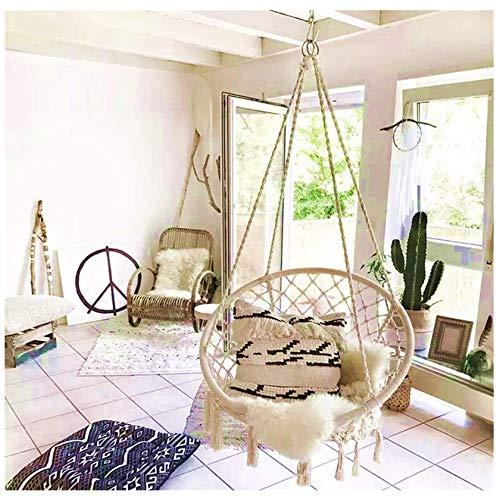 Sedia a dondolo con dondolo in macramè, fatta a mano, ideale per interni ed esterni, 80 cm x 60 cm x 120 cm