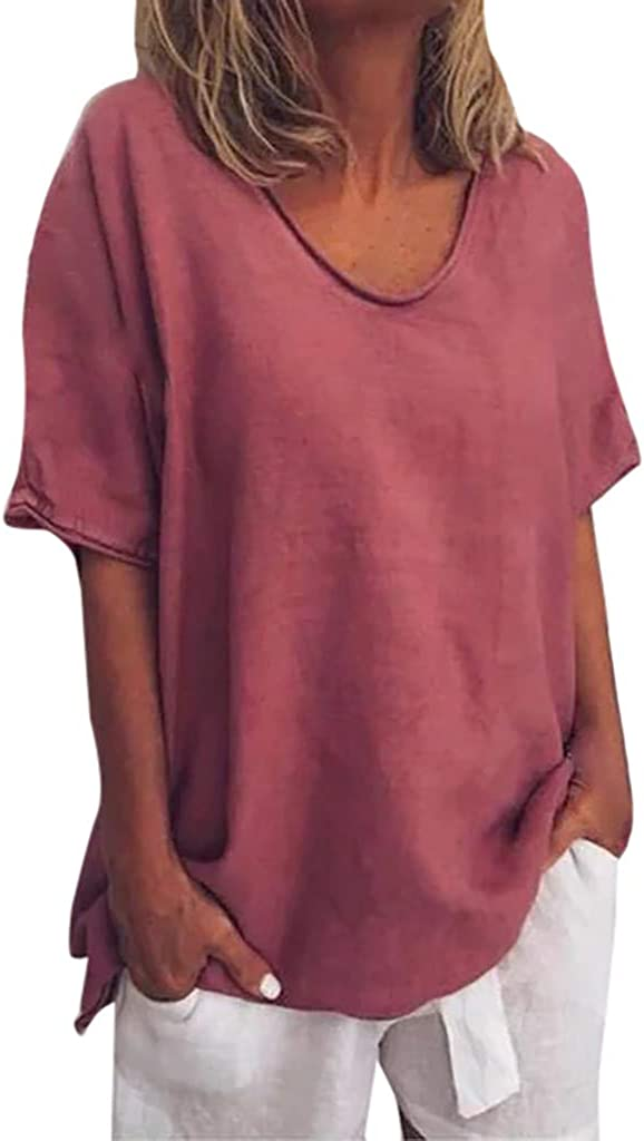 Plus Size Tops for Women Spasm price Summer Shipping included Color Solid Short Sleeve Casual