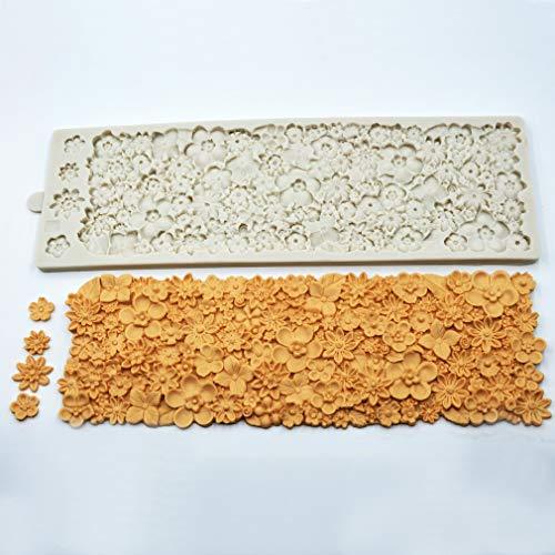 Molde de silicona para tartas con diseño de flores en relieve 3D, con textura de encaje para decoración de tartas, glaseado, azúcar, goma, pasta, pasta, manualidades, moldes para hornear