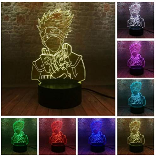Japanese Anime protagonist-3D Illusion Lamp Led Night Light USB 7 Colours Flashing Switch Hallway Bedroom Decoration Lighting for with Acrylic Flat, ABS Base, USB Cable-Touch
