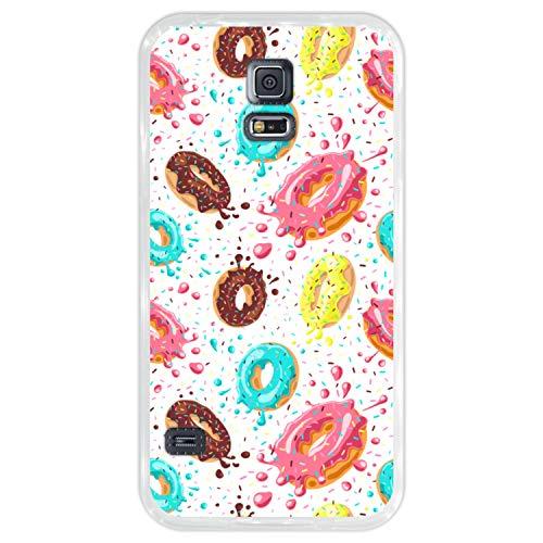 Hapdey Custodia per [ Samsung Galaxy S5 ] Disegni [ Modello di Ciambelle con Cioccolato e codette Colorate ] Cover Guscio in Silicone Flessibile Transparente TPU