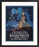 Dimensions Star Wars Luke Skywalker y Princesa Leia Kit de punto de cruz, color negro, 14 hilos, Aida, 11 x 14 pulgadas,
