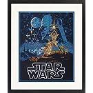 "Dimensions Star Wars Luke Skywalker and Princess Leia Cross Stitch Kit Black 14 Count Aida, 11"" x 14"","
