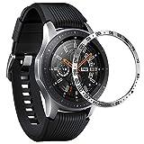 ANCOOL Lunette compatible avec Samsung Galaxy Watch 46 mm/Gear S3 Frontier & Classique, coque adhésive anti-rayures en acier inoxydable Design de protection pour Galaxy Watch Accessoire Argenté