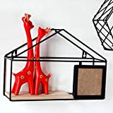 MeterMall Home Decor Gifts Modern Simple Design House Shaped Hanging Iron Shelf Storage Rack Golden Finishing Rack Home Decor