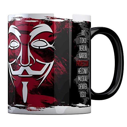 Tassenbude Tasse Vendetta Motiv Serie haus casa de schwarz rundumdruck spülmaschinenfest professor tokio denver berlin