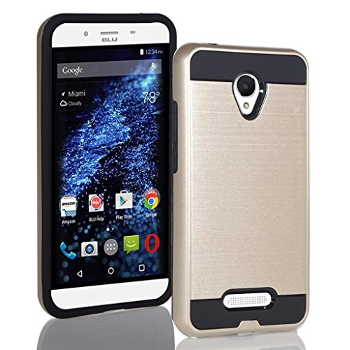 BLU Studio X8 HD Case, Tough Hybrid + Dual Layer Shockproof Drop Protection Metallic Brushed Case Cover + Screen Protector for Studio X8 HD (S530) (VGC Gold + SP)