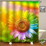 KUKUALE 3D impresso Colorido girassol Cortina de chuveiro belas Flores Cortinas do banheiro toalete Capa tapete antiderrapante Conjunto banheira decoração 180X180CM (71X71 Pulgadas)