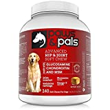 Paws & Pals Glucosamine for Dogs Max Strength Hip and Joint Supplement - with Chondroitin Plus MSM - for All Dog Sizes - 240 Count Soft Chews - Health Support Arthritis Pain Relief