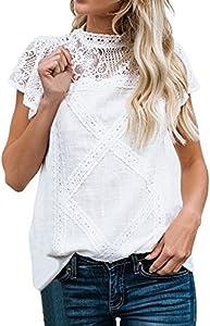 Camisetas Mujer SHOBDW Dia de la Mujer Verano Patchwork De Encaje Casual Ahuecar Volantes Manga Corta Suéter De Cuello De Tortuga Linda Blusa Floral Camiseta Blanca para Mujer(Blanco,L)