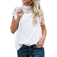 Camisetas Mujer SHOBDW Dia de la Mujer Verano Patchwork De Encaje Casual Ahuecar Volantes Manga Corta Suéter De Cuello De Tortuga Linda Blusa Floral Camiseta Blanca para Mujer(Blanco,M)