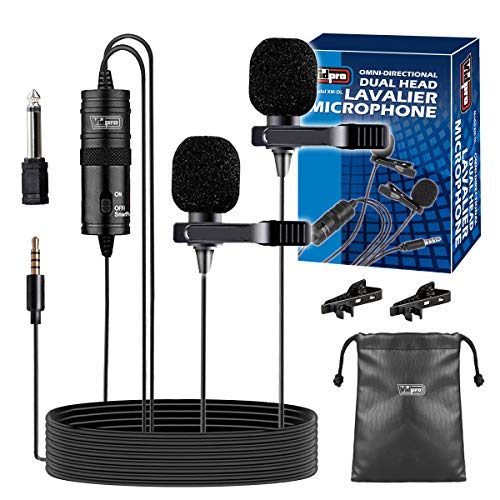 Vidpro XM-DL Dual-Head Powered Lavalier Clip-On Lapel Microphone for Interviews, Duets Compatible with Computers, DSLRs Cameras and Phones 3.5mm Jack