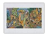 Isla Festín - Fiesta hawaiana antigua (Aha'aina) - Menú Matson - Portada de menú de transatlántico de Eugene Savage c.1940s - Impresión de Arte Papel Premium de Arroz Unryu 46x61cm