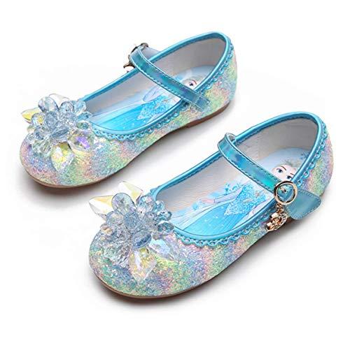 STRDK Niña Princesa Zapatos Sandalias Elsa Reina de Nieve Disfraz Zapatos de Cristal a Juego Niños Baile Zapatos Ballet Fiesta de Vestir Lentejuelas Arco Iris Cosplay Fiesta Zapatos Azul Rosado