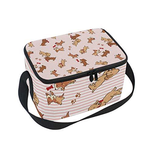Alinlo Lunchtasche mit niedlichem Hunde-Muster, Reißverschluss, isolierte Kühltasche, Lunchbox, Essen Vorbereitung, Handtasche für Picknick, Schule, Damen, Herren, Kinder