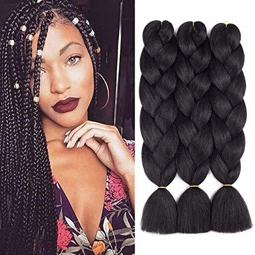 Ombre Braiding Hair 3 Packungen Kanekalon Jumbo Braiding Hair Extensions 24-Zoll-Ausdruck Braiding Hair Synthetisches Haar zum Flechten (schwarz)