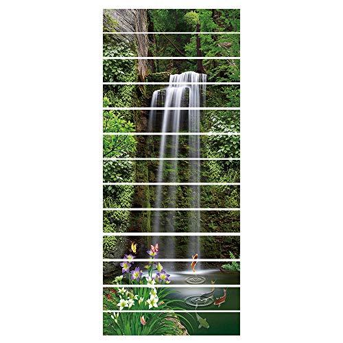workid Pegatinas Adhesivos Autoadhesivos para Escaleras Cocina Piso Baño Decoración Vintage Multicolor Impermeable Extraíble Etiqueta De Pared 18 * 100Cm * 13Pcs- Piscina del Bosque De Montaña