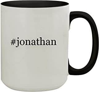 #jonathan - 15oz Hashtag Colored Inner & Handle Ceramic Coffee Mug, Black