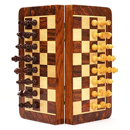 LUAN Ajedrez Juego de ajedrez de Madera magnético, Juegos de Tablero de ajedrez Plegables portátiles de Viaje, Almacenamiento para Piezas de Madera, Juguetes de Viaje para Regalo Regalos para