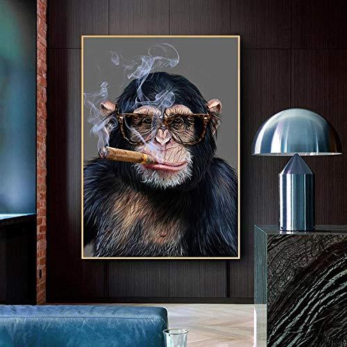 Kit de taladro redondo completo de pintura de diamante 5D para hacer tabaco con diseño de mono y gorila, kit de bordado de diamante completo para decoración de sala de estar