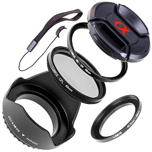 LUMOS Zubehör Set mit Gegenlichtblende UV Filter Polfilter Objektivdeckel Step up Ring 40,5-49 mm | zu SEL-P1650 und SEL55210 an Sony Alpha 5000 6000 6300 6400