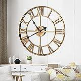 FOGARI - Reloj de pared redondo grande con números romanos, metal, estilo vintage, funciona pilas, para decorar el reloj 40 cm oficina, salón, dormitorio, comedor, cocina, color dorado.