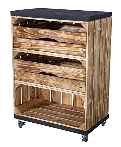 Vintage Möbel 24 GmbH Regal aus Einer hohen geflammten Regalkiste mit 2 Schubladen und Bohlenbrett in Schwarz, auf Rollen 72x50x31cm Obstkiste Weinkiste