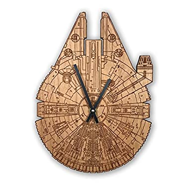Inked and Screened Star Wars Millennium Falcon Laser Engraved Wall Clock (Cherry-Standard)