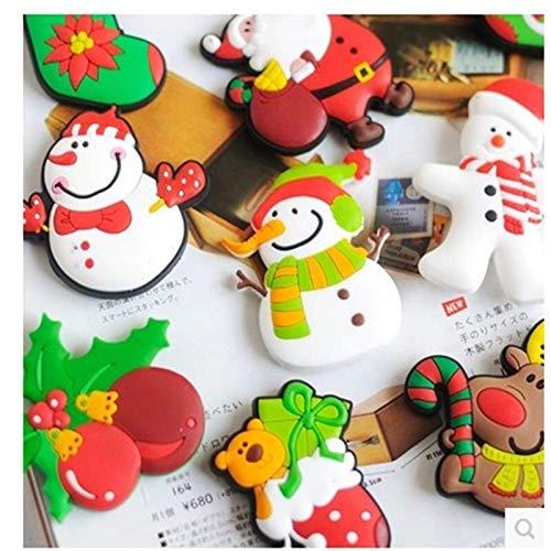 weichuang Fridge magnet 5Pcs/set Lovely Christmas Refrigerator PVC Magnetic Cartoon Snowman Reindeer Fridge Magnets Santa Claus Tree Fridge Magnet Gift Fridge magnet (Color : 5pcs)