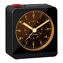 Marathon Silent Non-Ticking Alarm Clock with Warm Amber Auto Back Light and Repeating Snooze - Batteries Included (Black/Black)