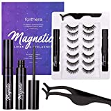 Forthera Magnetic Eyelashes and Magnetic Eyeliner Kit with Applicator,7 Pairs of Reusable Magnetic Eyelashes and 2 Tubes of Magnetic Eyeliner Easy to Use No Glue Needed, Waterproof