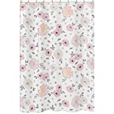 Sweet Jojo Designs Blush Pink, Grey and White Bathroom Fabric Bath Shower Curtain for Watercolor Floral Collection