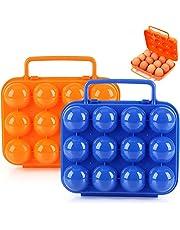 2 Piezas Bandeja de Plástico para Huevos Caja Envase para Huevos con Mango Portátil Caja de Almacenamiento de Huevos con 24 Rejillas para BBQ, Pesca, Camping