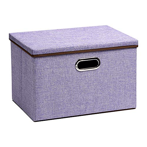 UUJOLY Large Foldable Storage Bins with Lids, Cube Collapsible Nursery Box for Bedroom, Wardrobe, Shelf, Office (purple)