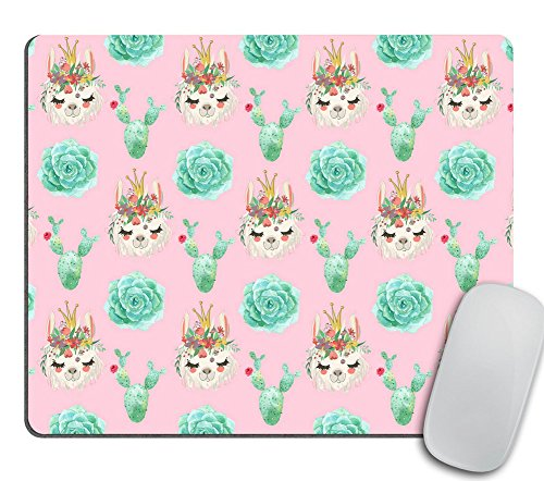 Coworker Gift Mouse Pad Funny Mousepad Cactus Pink Desk Accessories Llama Mouse Pad Succulent Mousepad Rectangle Llama Gifts Mint Green Cute