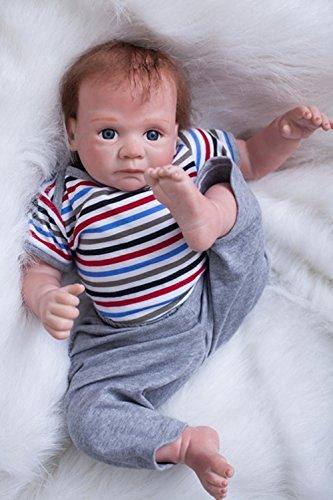MAIHAO 20 Zoll 50cm Reborn Babys Puppen Junge Weiche Vinyl Silikon Puppe Reborn Babypuppen Lebensechte Dolls Magnetisches Spielzeug Kinder