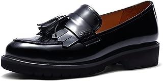 Darco & Gianni Women's Fringed Slip On Loafers Shoes Ladies Leather Tassel Round Toe Dress Pumps Platform Low Heel