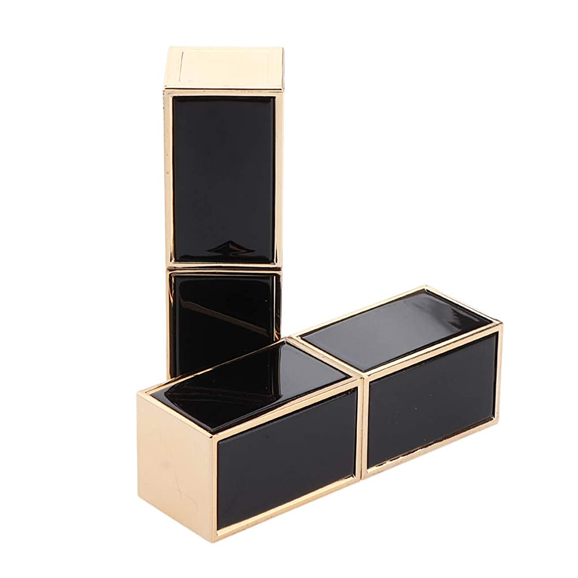 排他的通信するブロックSharplace チューブ 容器 口 紅チューブ リップスティック 口紅 リップブラム 詰め替え式 持ち運び便利 2色選べ - ブラック
