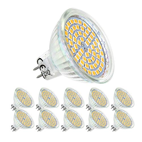 GVOREE MR16 GU5.3 LED Lampen,450lm,Ersatz für 50W Halogenlampen,5W,12V AC/DC,Warmweiß,120° Ausstrahlungswinkel,LED-Reflektorlampe mit GU5.3 Sockel 10er Pack