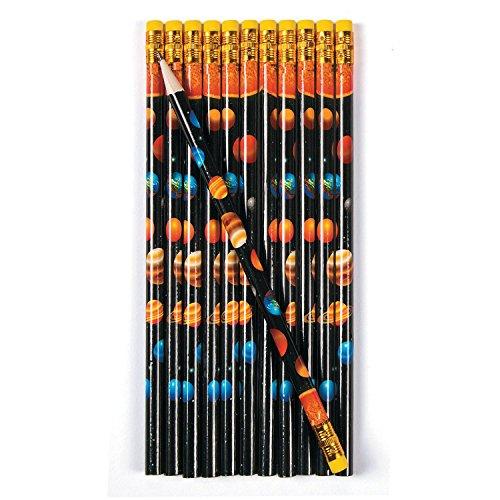 cama24com Weltraum Space Bleistifte mit Radiergummi als Mitgebsel 12 Stück mit Palandi® Sticker