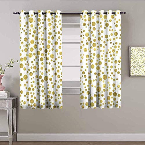 LucaSng Blackout Curtain Thermal Insulated - Yellow circle creativity art - 72x63 inch for Bedroom Kitchen Living Room Boy Girl Window - 3D Digital Printing Eyelet Ring Curtain
