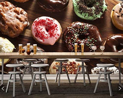 Pastelería Donut Chocolate comida 3D papel tapiz sala de estar cocina papel tapiz decoración del hogar panadería cafetería Bar Mural personalizado 450x300cm