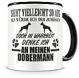 Samunshi® Ich denke an meinen Dobermann Hunde Tasse Kaffeetasse Teetasse Kaffeepott Kaffeebecher Becher