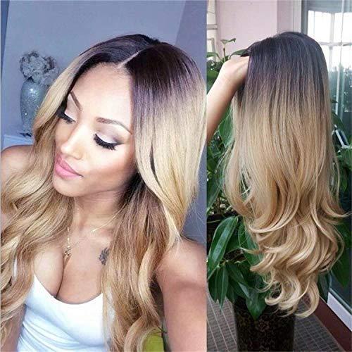 Yunsi - Peluca Redlution con degradado de color de marrón a rubio ceniza, alta densidad, resistente al calor, cabello sintético, entramado completo, para mujer