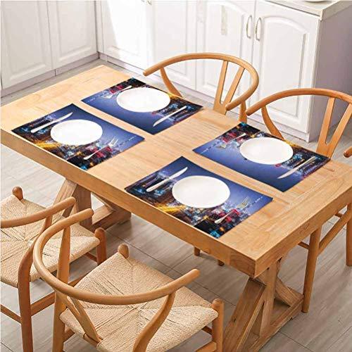 FloraGrantnan - Set di 6 tovagliette per tavola in cotone e lino, decorazione per la casa, città notturna a Dubai Vividi, Emirati Arabi Uniti, attrazione turistica Trav, adatti per la casa e la cucina